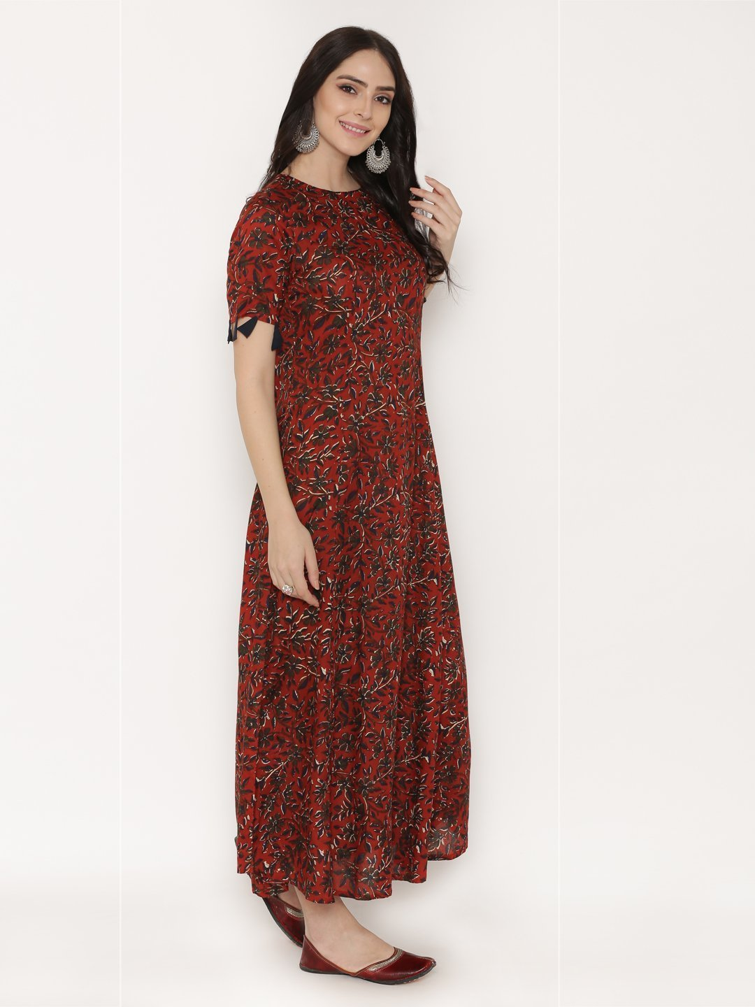 53893725 Maroon Printed long length dress with contrast tassels - Bid2Buy