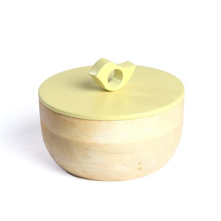 FireFlies Lemon Grass Mango Wood Container 0.5 L, Artisan Crafted, Handcrafted Sustainable Wooden Container With Lift Off Lids, Food Safe Containers, Kitchen Décor Storage & Organizing Accessories