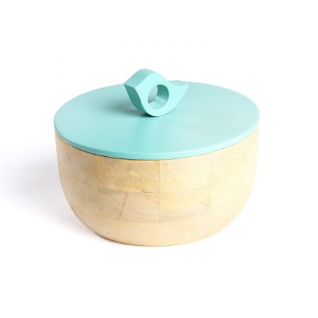 FireFlies Royal Wedding Blue Mango Wood Container 0.5 L, Artisan Crafted, Handcrafted Sustainable Wooden Container With Lift Off Lids, Food Safe Containers, Kitchen Décor Storage & Organizing Accessories
