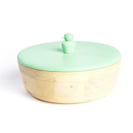 FireFlies Green Tea Mango Wood Container 1 L, Artisan Crafted, Handcrafted Sustainable Wooden Container With Lift Off Lids, Food Safe Containers, Kitchen Décor Storage & Organizing Accessories