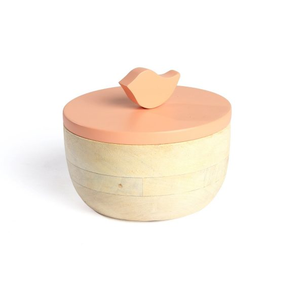 FireFlies Peach Mango Wood Container 0.3 L, Artisan Crafted, Handcrafted Sustainable Wooden Container With Lift Off Lids
