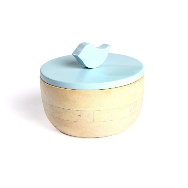 FireFlies Timeless Blue Mango Wood Container 0.3 L, Artisan Crafted, Handcrafted Sustainable Wooden Container With Lift Off Lids, Food Safe Containers, Kitchen Décor Storage & Organizing Accessories