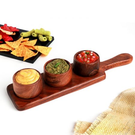 Urban Snackers Wooden Sauce Server with 3 Dips for Serving Vinegar, Salad, Soy Sauce, Chili Oil, Snack|Gifting Accessories|in Hotels, Kitchen, Home, Restaurant