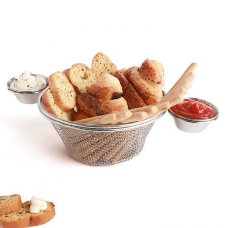 Urban Snackers Stainless Steel Mini Chip Basket | Food Presentation Seving Basket + 2 pc Stainless Steel Sauce Cup | Buffet Frustum Snack Display Frame