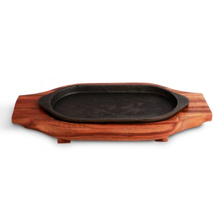 Urban Snackers Wooden Sizzler Plate with Insulated Holder/Iron Plate Tray with Wooden Base for Christmas Or Birthday/for Display Fish, Steak, Pizza Or Grilled Goods