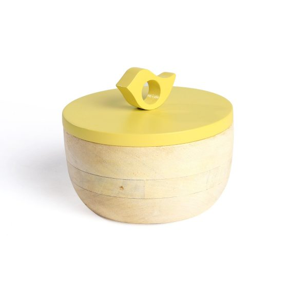 FireFlies Yellow Mango Wood Container 0.3 L, Artisan Crafted, Handcrafted Sustainable Wooden Container With Lift Off Lids, Food Safe Containers, Kitchen Décor Storage & Organizing Accessories