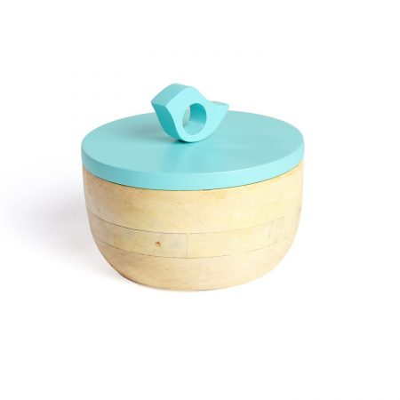 FireFlies Blue Glory Mango Wood Container 0.3 L, Artisan Crafted, Handcrafted Sustainable Wooden Container With Lift Off Lids, Food Safe Containers, Kitchen Décor Storage & Organizing Accessories