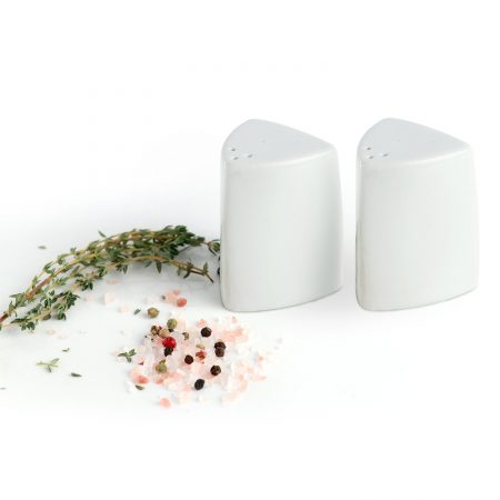Urban Snackers Pepper & Salt Pot 1.5X2.5 cm, Triangular Shaped White Porcelain, for Dining Table, Kitchen and Hotel - Set of 2