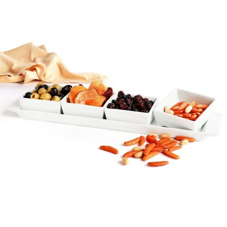 Urban Snackers Set of 4 Bowls & Tray, Rectangle Shaped White Porcelain, for Serving Breakfast, Dining and Snacks