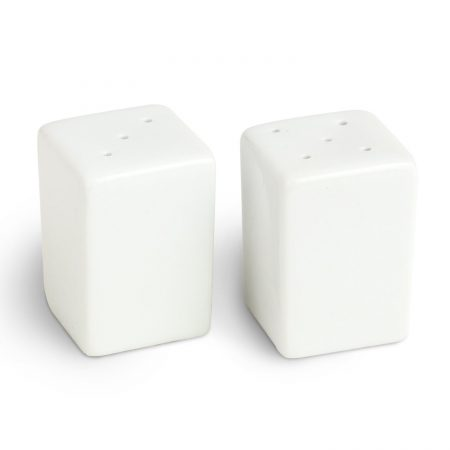 Urban Snackers Pepper & Salt Pot 1.5X2.25 cm, Square Shaped White Porcelain, for Dining Table, Kitchen and Hotel