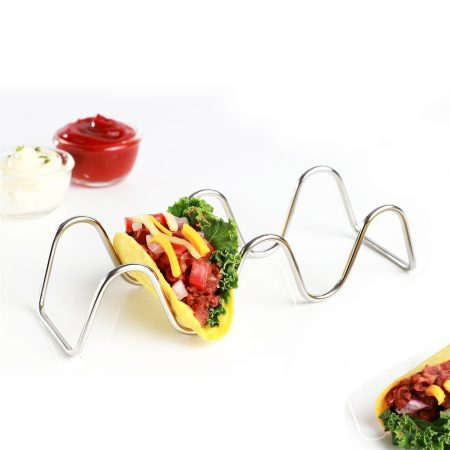 Urban Snackers Stainless Steel 3 Slot Taco Holder for Home, Kitchen, Hotel, Party, Celebration, Restaurants
