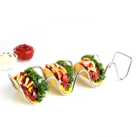 Urban Snackers Stainless Steel 4 Slot Taco Holder for Home, Kitchen, Hotel, Party, Celebration, Restaurants