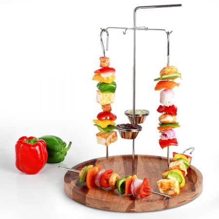 Urban Sanckers Stainless Steel Hanging Kabab Skewer, Set of 4 Skewers, Barbeque and Kabab Stand, Home, Kitchen, Hotel & Restaurants
