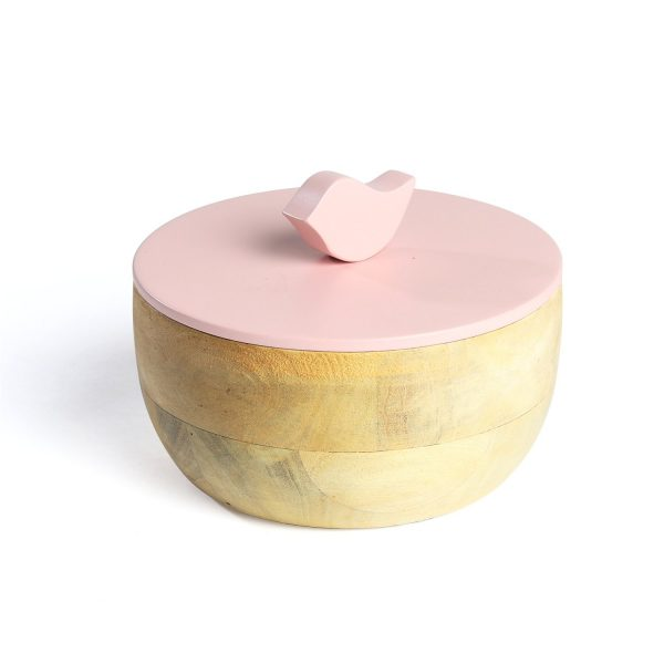 FireFlies Pink Bluff Mango Wood Container 0.5 L, Artisan Crafted, Handcrafted Sustainable Wooden Container With Lift Off Lids, Food Safe Containers, Kitchen Décor Storage & Organizing Accessories