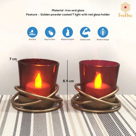 Fireflies Golden Powder Coated Iron T light Holder with Clear Red Glass Set of 2