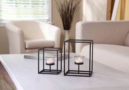 Fireflies Square Frame Black Powder Coated Iron T light Holder with Clear Glass Set of 2