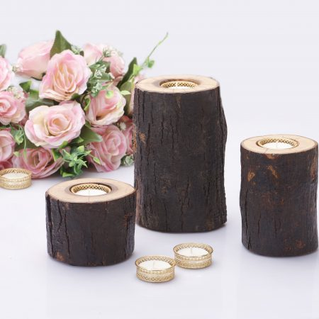 Fireflies Wooden Log T-light candle holder Set of 3 / Tealight /Wooden Candle Holder/Candle Stand/ T light holder /T light set / Gift/ Home Decor/ lighting ideas/ Wooden Gift And Accessories