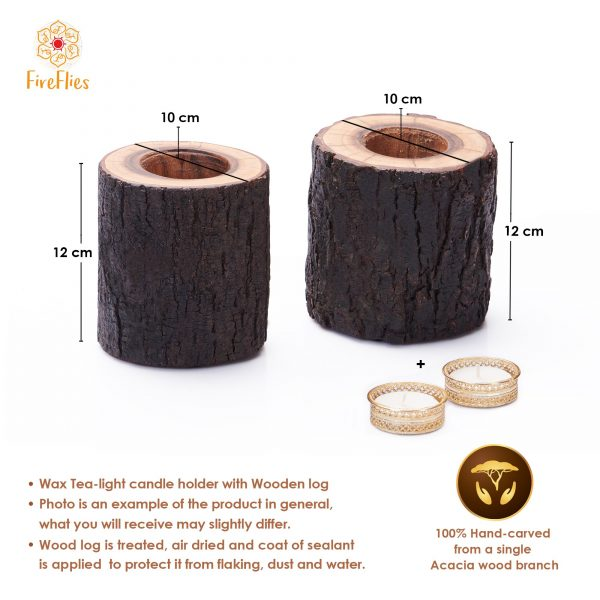 Fireflies Wooden Log T-light candle holder Set of 2 / Tealight /Wooden Candle Holder/Candle Stand/ T light holder /T light set / Gift/ Home Decor/ lighting ideas/ Wooden Gift And Accessories