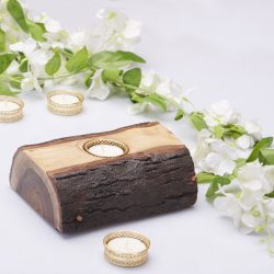 Fireflies Wooden Log T-light candle holder  / Tealight /Wooden Candle Holder/Candle Stand/ T light holder /T light set / Gift/ Home Decor/ lighting ideas/ Wooden Gift And Accessories