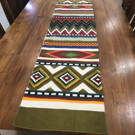 FireFlies Green Fantasy Geometrical Design 100%Cotton Canvas Long Table Runner, for Office Kitchen Dining Wedding Party Home Decor 35 X 159 cm