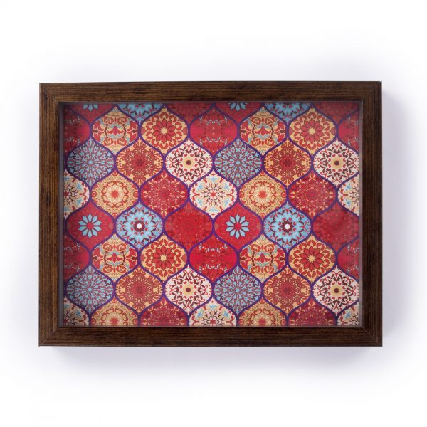 FireFlies Handcrafted Red Moroccan 8x10 inch Serving Tray with Acrylic Insert For Dining Tableware, Welcoming Guests, Table Décor, Kitchen Serveware, Breakfast Coffee Table Tray, Butler Serving Trays, Decorative Tray with Antique Touch