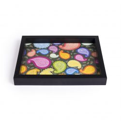 FireFlies Handcrafted Black Paisley 8x10 inch Serving Tray with Acrylic Insert For Dining Tableware, Welcoming Guests, Table Décor, Kitchen Serveware, Breakfast Coffee Table Tray, Butler Serving Trays, Decorative Tray with Antique Touch