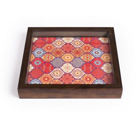FireFlies Handcrafted Red Moroccan 8x8 inch Serving Tray with Acrylic Insert For Dining Tableware, Welcoming Guests, Table Décor, Kitchen Serveware, Breakfast Coffee Table Tray, Butler Serving Trays, Decorative Tray with Antique Touch