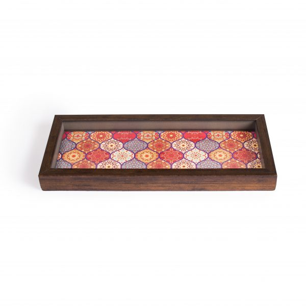 FireFlies Handcrafted Red Moroccan 5x12 inch Serving Tray with Acrylic Insert For Dining Tableware, Welcoming Guests, Table Décor, Kitchen Serveware, Breakfast Coffee Table Tray, Butler Serving Trays, Decorative Tray with Antique Touch