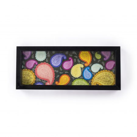FireFlies Handcrafted Black Paisley 5x12 inch Serving Tray with Acrylic Insert For Dining Tableware, Welcoming Guests, Table Décor, Kitchen Serveware, Breakfast Coffee Table Tray, Butler Serving Trays, Decorative Tray with Antique Touch
