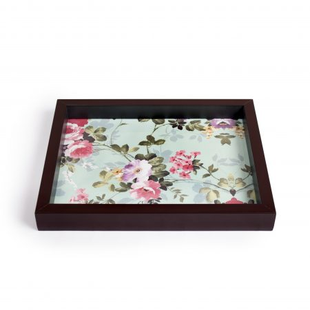 FireFlies Handcrafted Vintage Charm 7x9 inch Serving Tray with Acrylic Insert For Dining Tableware, Welcoming Guests, Table Décor, Kitchen Serveware, Breakfast Coffee Table Tray, Butler Serving Trays, Decorative Tray with Antique Touch