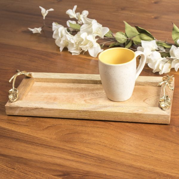 FireFlies Handcrafted Mango Wood Rectangle (14x6 inch) Serving Tray with Brass Handle For Dining Tableware, Welcoming Guests, Table Décor, Kitchen Serveware, Breakfast Coffee Table Tray, Butler Serving Trays, Decorative Tray with Antique Touch