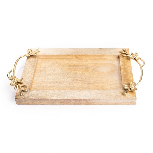 FireFlies Handcrafted Mango Wood Rectangle (12x8 inch) Serving Tray with Brass Handle For Dining Tableware, Welcoming Guests, Table Décor, Kitchen Serveware, Breakfast Coffee Table Tray, Butler Serving Trays, Decorative Tray with Antique Touch