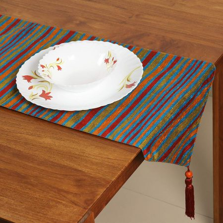 FireFlies Multicolour Polyester Print Table Runner with Red Tassels for Office Kitchen Dining Wedding Party Home Decor 33 X 150 cm