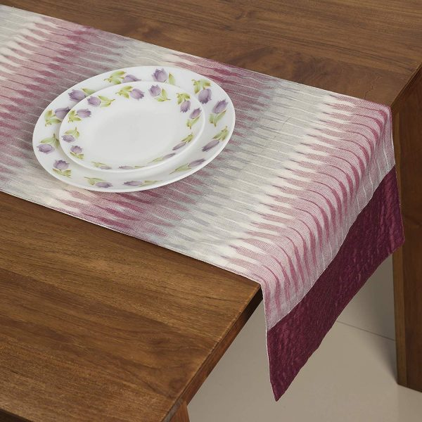 FireFlies Purple & Beige Ikat Print Table Runner with 100% Cotton for Office Kitchen Dining Wedding Party Home Decor 33 X 150 cm