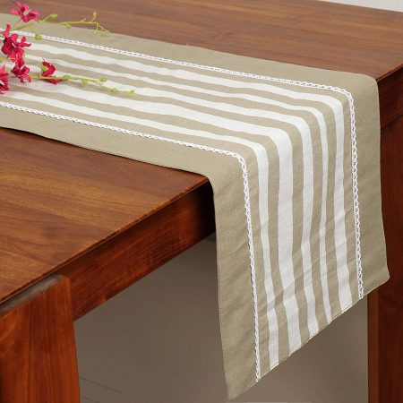 FireFlies White & Green Strips Pattern Table Runner with 50% Cotton + 50% Linen for Office Kitchen Dining Wedding Party Home Decor 33 X 150 cm