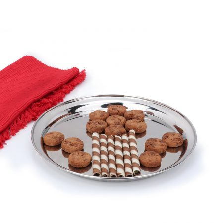 Urban Snackers Round Serving Tray (Stainless Steel, 25 cm, 420 Gms)