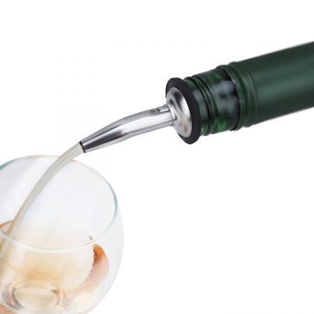 Urban Snackers Liquor Spirit Pourer Free Flow Wine Liquor Bottle Pour Dispenser Spout Rubber Stopper (Stainless Steel)