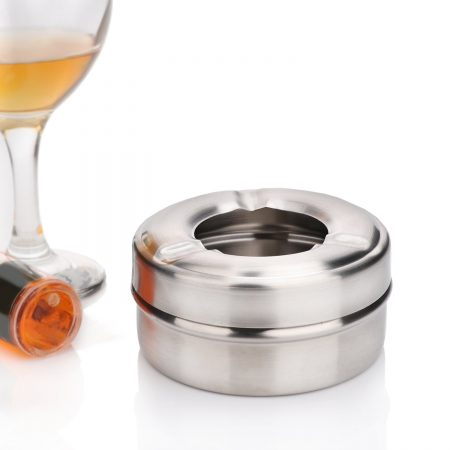 Urban Snackers Table Top Ash Tray with Lid for Home, Office, and Bar (Stainless Steel)