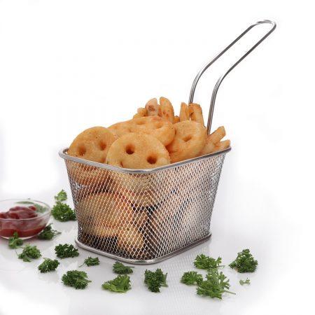 Urban Snackers Fish Basket Deep/French Fry Basket Stainless Steel Fryer Basket Strainer Serving Food Presentation Chips Baskets (Stainless Steel)