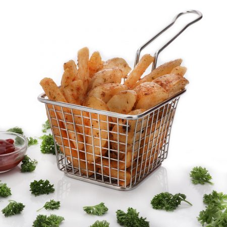 Urban Snackers Mini Fry Basket for French Fry, Fryer Basket Strainer Serving Food Presentation (Stainless Steel)