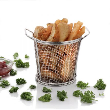 Urban Snackers Round Tapered Basket for French Fry, Fryer Basket Strainer Serving Food Presentation (Stainless Steel)