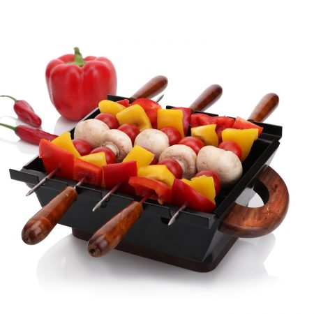 Urban Snackers Table Top Lightweight MS Barbeque For Serving With Wooden Handle 5 Skewers