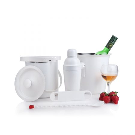 Urban Snackers White Powder Coating Bar Set Combo Of 6 Pcs (Stainless Steel) (Monalisa Cocktail Shaker 20 Oz, Ice Bucket Double Wall With Cover, Bottle Opener, Wine Cooler 20 Cm, Ice Tong, Bar Spoon Full Twist)