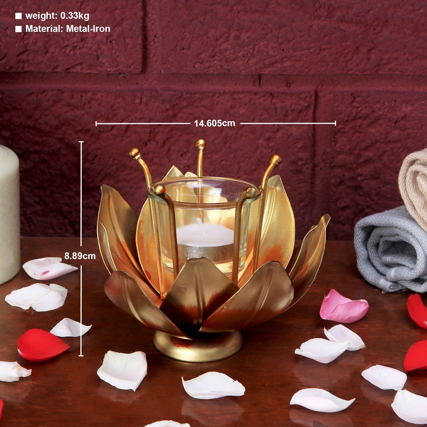 The India Craft Golden Lotus T-Light Artwork Beautiful Table Top Home  Decor, Handicrafts, Sculpture, Decoration For Living Room Wall, Bedroom,  Office,