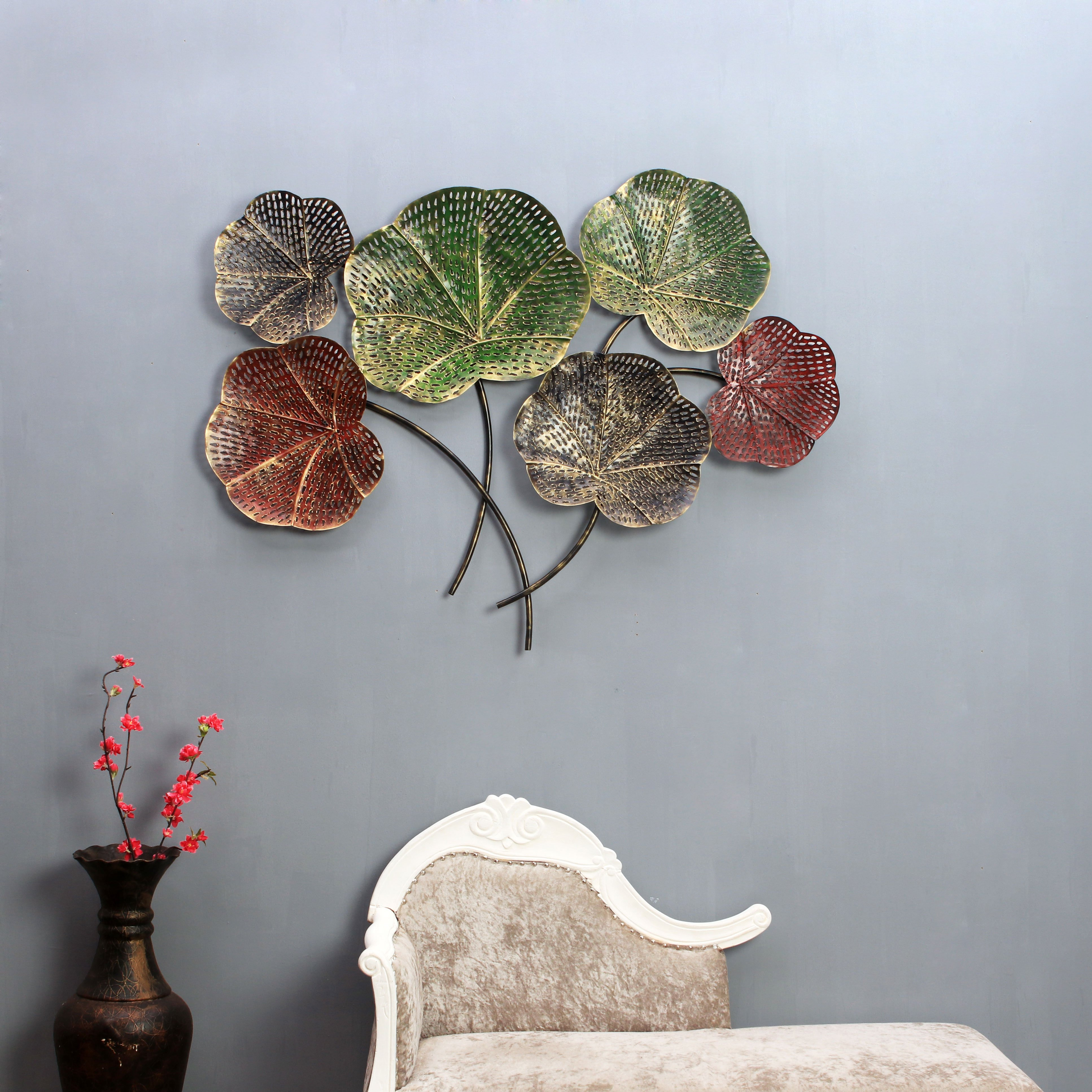 The India Craft Mythical Flowers Artwork Metal Iron Flower Family Beautiful Wall Hanging Home Decor Handicrafts Sculpture Decoration For Living