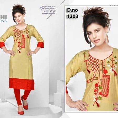 A69ST364163BF-Preksha - Rayon 14 Kg Embroidery Kurti-42
